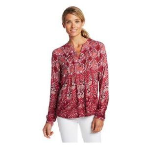 Prana Evelyn Red Paisley Button Front Blouse Sz.M